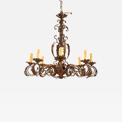 Italian Renaissance Style Wrought Iron Chandelier