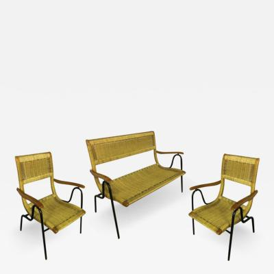 Italian Riviera Charming Rope and Metal Set of One Couch and 2 Chairs