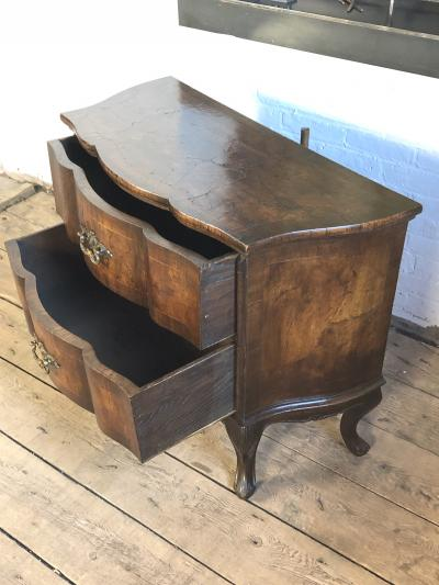 Italian Rococo Style Serpentine Front Walnut Two Drawer Commode