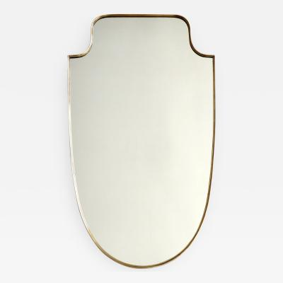 Italian Round Shouldered Brass Framed Shield Shape Vintage Mirror