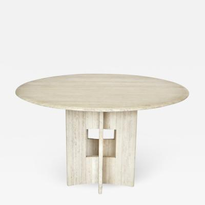 Italian Round Travertine Marble Dining Table with Sculptural Architectural Base