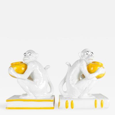Italian Royal Porcelain Monkeys Bookends