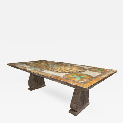 Italian Scagliola Marble Table on Concrete Plinths
