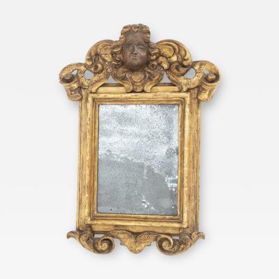 Italian School Antique Italian Wall Mirror in Painted Golden Wood