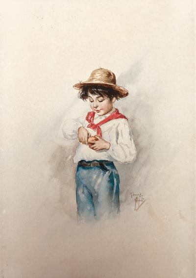 Italian School Boy with Orange