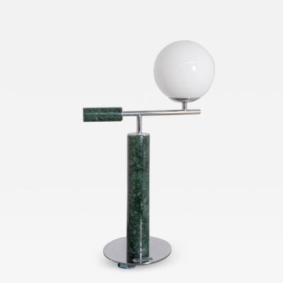 Italian School Italian Contemporary Table Lamp in Green Marble and Steel