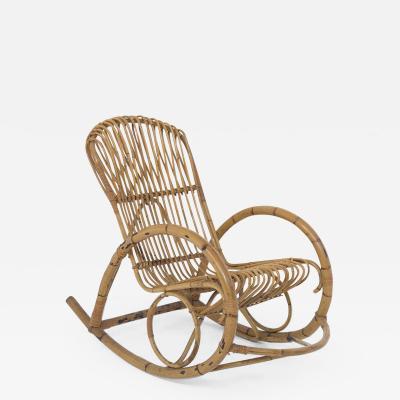 Italian School Italian Vintage Bamboo Rocking Chair 1950s