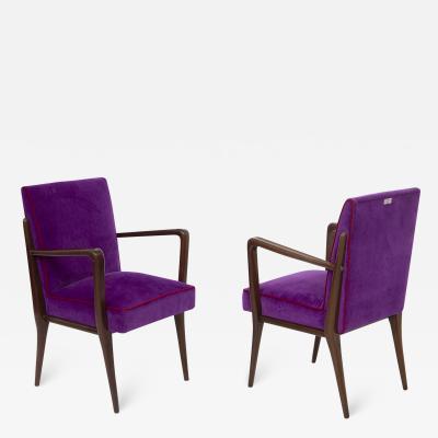 Italian School Pair of Italian Armchairs of Fratelli Consonni Production in Purple Velvet