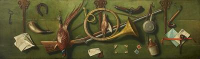 Italian School Very Unusual Large and Visual Trompe Loeil Game Painting on Board