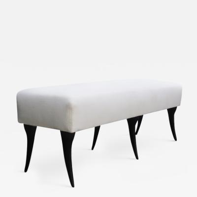 Italian Sculptural Upholstered Ebonised Bench