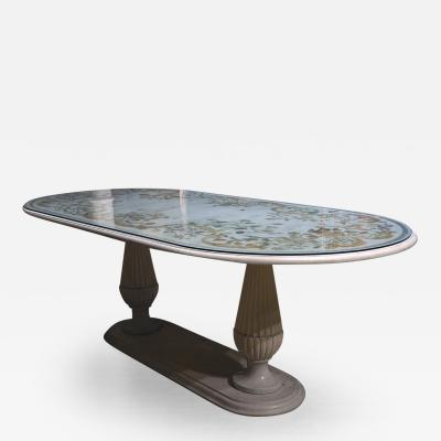 Italian Seagolia Oval Marble Table