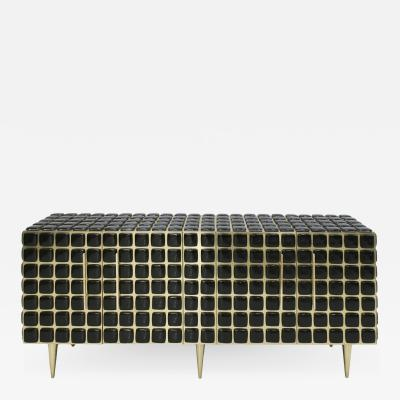 Italian Sideboard Made of Wood Brass Decorated With Black Murano Glass Mosaics