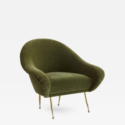 Italian Slipper Chair in Olive Mohair