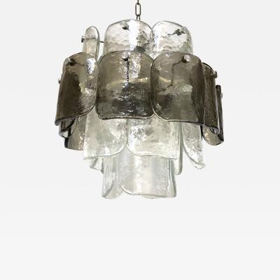 Italian Smoky Grey and Clear Glass Chandelier