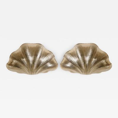 Italian Solid Brass Scallop Design Sconces Pair