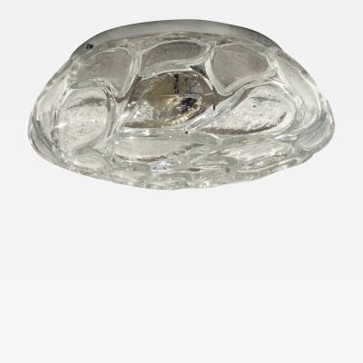 Italian Textured Glass Flush Mount Fixture 1970s