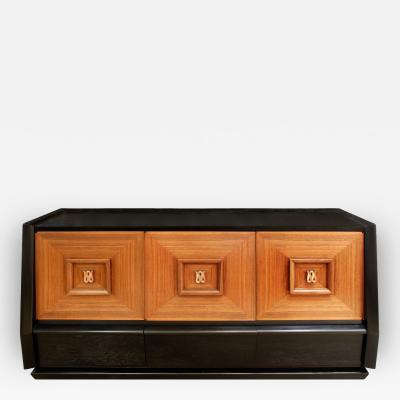 Italian Three Door Credenza With Copper Pulls 1940s