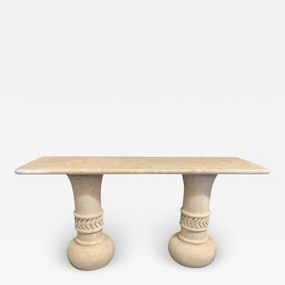 Italian Travertine Console Table