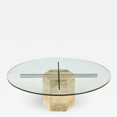 Italian Travertine and Glass Circular Coffee Table