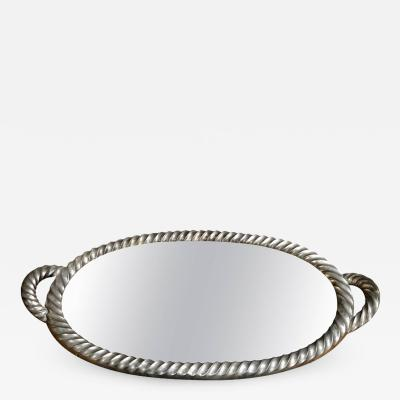 Italian Tray in Silver Leaf with Mirrored Glass Top 1940s