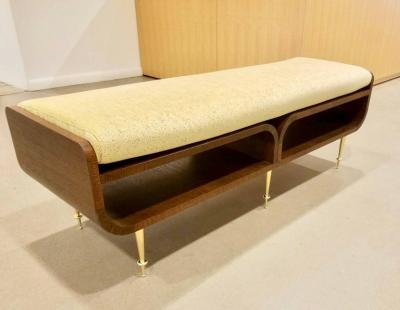 Italian Two tier Brown Wood Bench or Coffee Table with Brass Legs