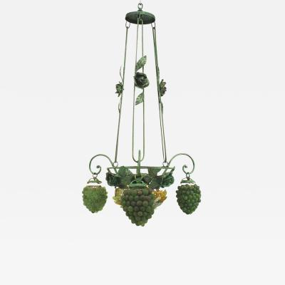 Italian Venetian 3 Arm Grapes Flowers and Leaf Design Chandelier