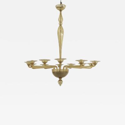Italian Venetian Murano 1940s style Oval Shaped Amber Glass Chandelier