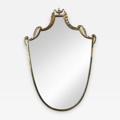 Italian Vintage Curvilinear Brass Mirror 1950s