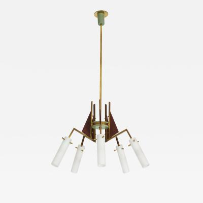 Italian Vintage Wood Brass and Glass Five Arm Chandelier