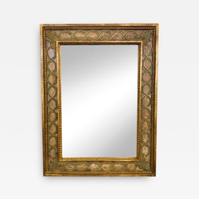 Italian Wall or Vanity Mirror with Antiqued Gilt Wood Hand painted Frame