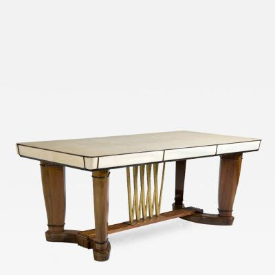 Italian Walnut and Goat Skin Table