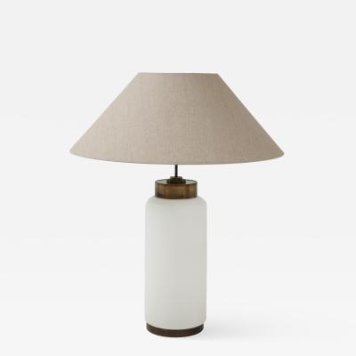 Italian White Opaline Glass Brass Large Lamp w Belgian Linen Shade c 1970