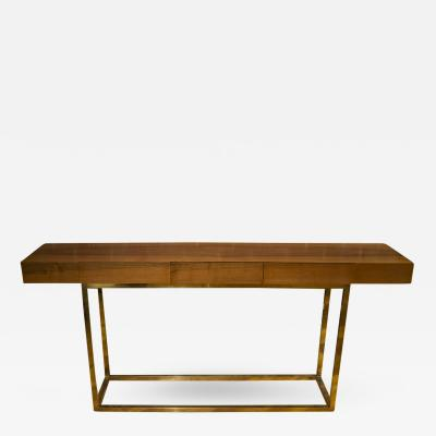 Italian Wood and Brass Three Drawer Console