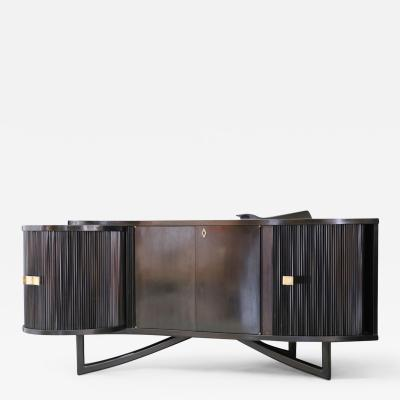Italian bar cabinet by in ebonized wood and brass 1940s