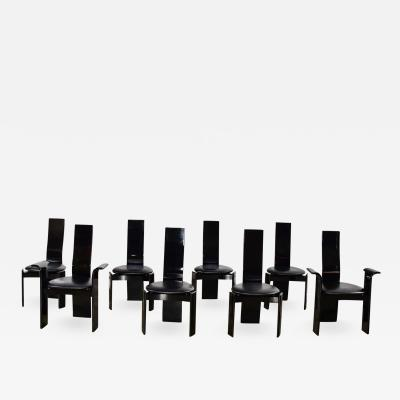 Italian black lacquered dining chairs attributed to pietro costantini set of 8