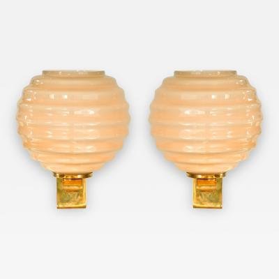 Italian circular ribbed wall lights