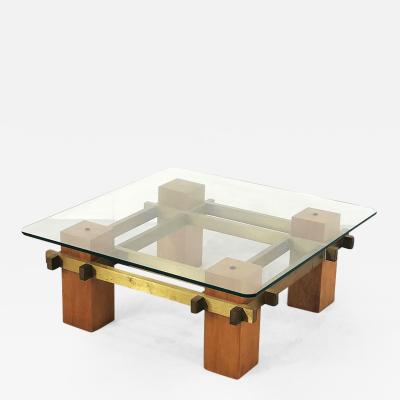 Italian coffee table produced in the 50s in brass wood and crystal glass