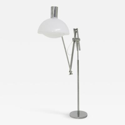 Italian floor lamps Mid Century in plexiglass white and steel 1960s