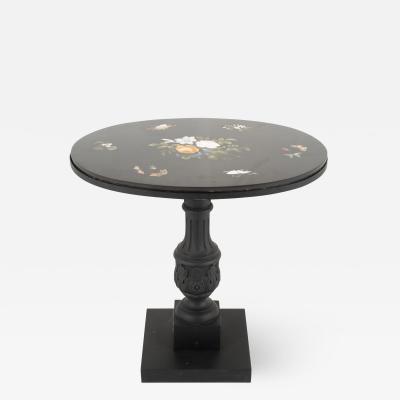 Italian grand tour pietra dura oval table top on cast iron base