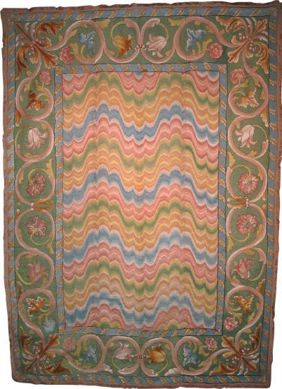Italian late 17th century Bargello needlepoint table carpet
