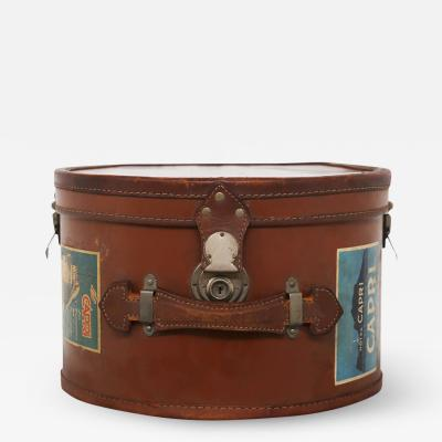 Italian leather hatbox with steel inserts and period stickers 1930s