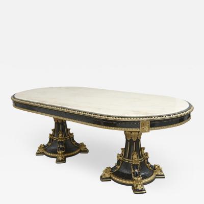 Italian marble ebonised and gilt wood dining table