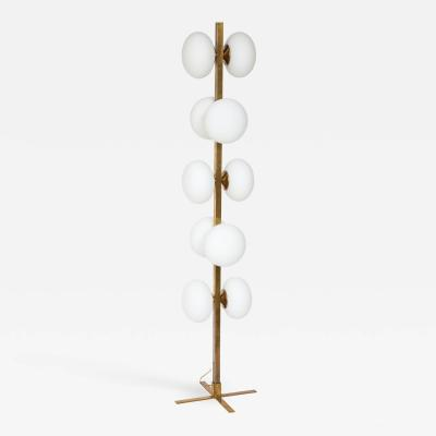 Italian modernist brass floor lamp with opaline glass globe lights
