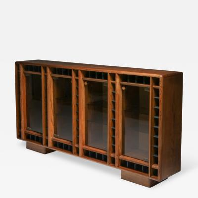 Italian oak sideboard with glass doors and space for bottles 1970s