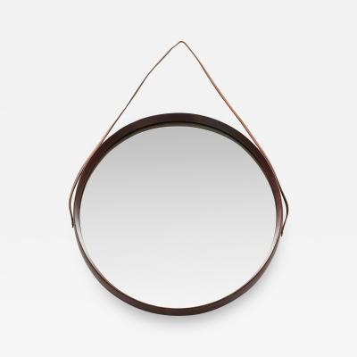 Italian round mirror mahogany leather 60s