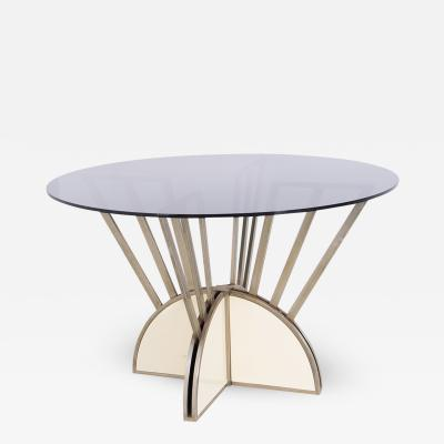 Italian round table in steel and aluminium with smoked glass