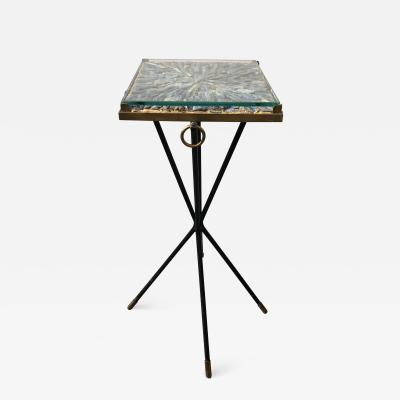 Italian side table bronze details supporting a blue Kyantine stone top