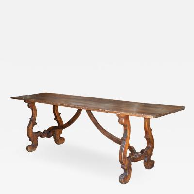Italian walnut trestle table Circa 1850