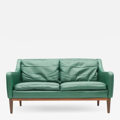 Italien Two Seat Sofa in Green Leather 1958