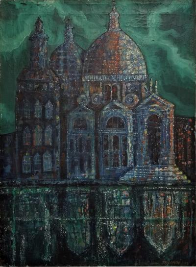 Italo Locchi Santa Maria della Salute Oil on Canvas